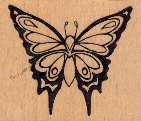 Fantasy Wings Butterfly Wood Mounted Rubber Stamp